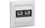 Розетка 2xRJ11 (бел)  (Распродажа. На складе 29 шт.)